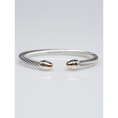 David Yurman 5mm Sterling Silver and 14k Gold Cable Classics Bracelet