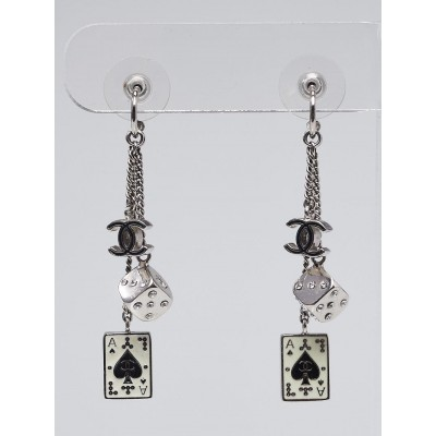Chanel Limited Edition Ace of Spades Drop Earrings