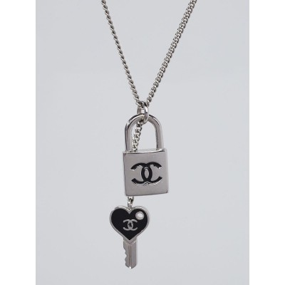 Chanel Silvertone Padlock and Key Chain Necklace
