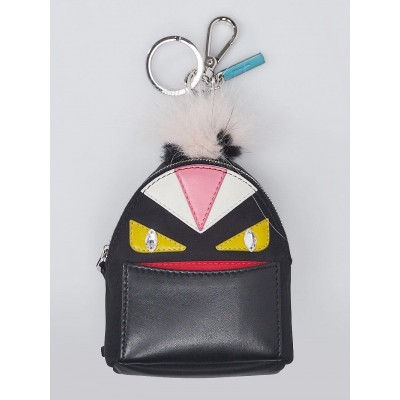 Fendi Black Leather and Nylon Monster Eyes Fur Key Chain and Bag Charm 7AR457