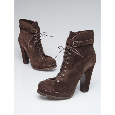 Alaïa Brown Suede Lace-Up High Heeled Ankle Boots Size 10/40.5