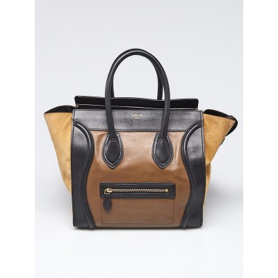 Celine Tri-Color Leather and Suede Mini Luggage Tote Bag