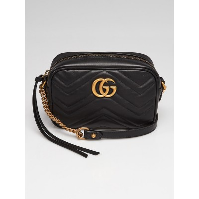 Gucci Black Quilted Leather Marmont Mini Camera Bag