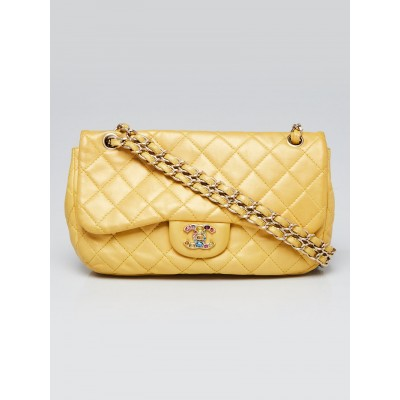 Chanel Gold Quilted Leather Precious Jewel Medium Flap Bag