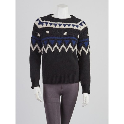 Burberry Brit Black and Blue Wool Blend Sweater Size S