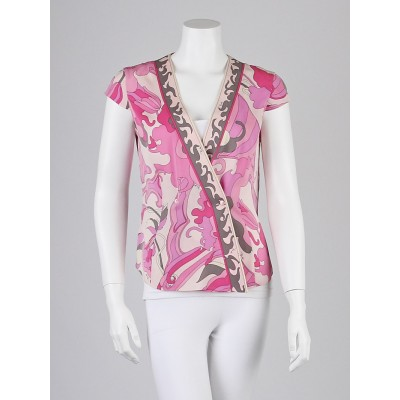 Emilio Pucci Pink Abstract Print Silk Blouse Size 6/40