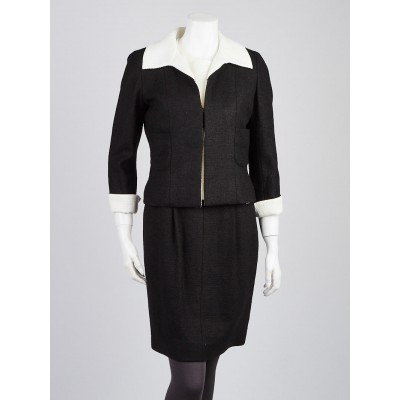 Chanel Black and White Linen/Cotton Blend Jacket and Sleeveless Dress Size 6/8/38/40