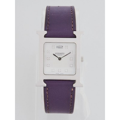 Hermes Raisin Swift Leather Stainless Steel and Diamond Heure H Quartz Watch HH1.510