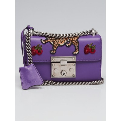 Gucci Purple Smooth Leather Embroidered Tiger and Strawberry Small Padlock Shoulder Bag
