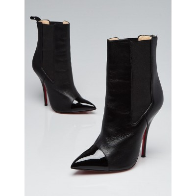 Christian Louboutin Black Nappa and Patent Leather Cap Toe Tucson 120 Boots Size 7/37.5
