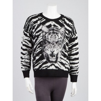 Yves Saint Laurent Black/White Tiger Mohair Sweater Size Small