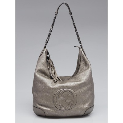 Gucci Silver Pebbled Leather Soho Chain Shoulder Bag