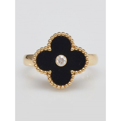Van Cleef & Arpels 18k Yellow Gold Onyx and Diamond Vintage Alhambra Ring Size 6.5/53