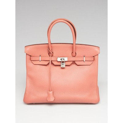 Hermes 35cm Rose Tea Clemence Leather Palladium Plated Birkin Bag