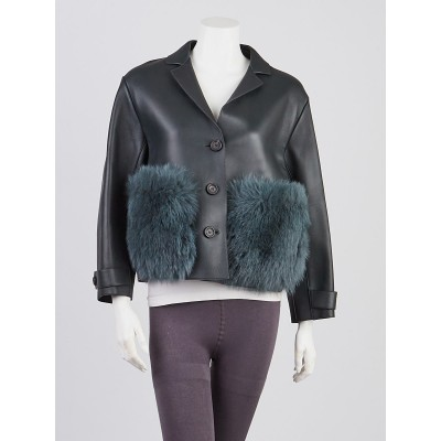 Burberry Dark Green Leather/Fur Cropped Jacket Size 6/40