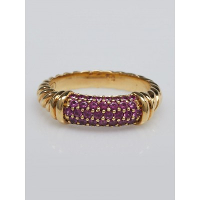 David Yurman 18k Gold and Pink Sapphire Cable Candy Metro Ring Size 7