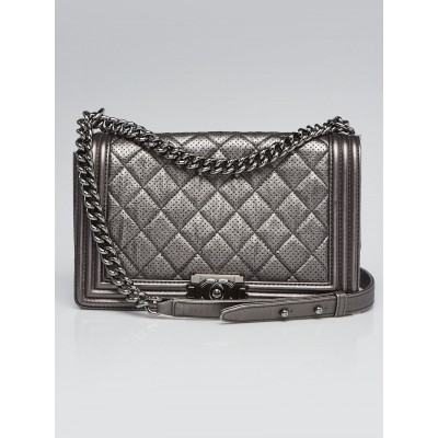 Chanel Dark Silver Perforated Quilted Leather Large Boy Bag