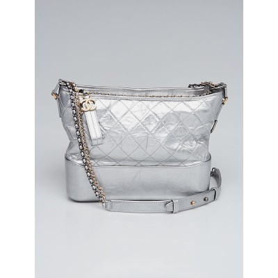 Chanel Silver Quilted Calfskin Leather Gabrielle Medium Hobo Bag