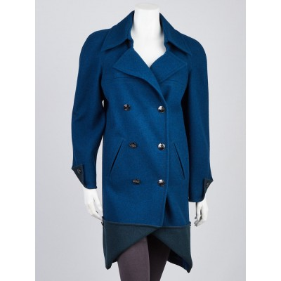 Chanel Blue Wool Double Breasted Coat Size 8/40