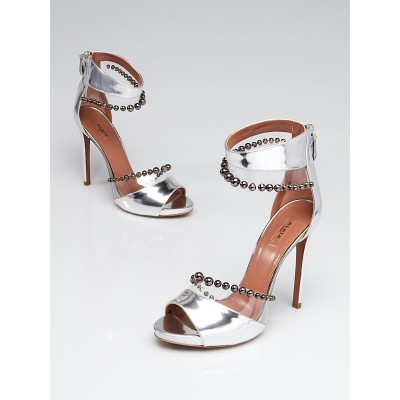 Alaïa Silver Leather and Beaded Ankle Wrap Open Toe Sandals Size 8/38.5