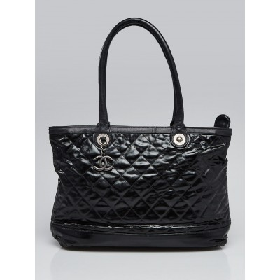 Chanel Black Striated Quilted Coated Canvas Rue Cambon Tote Bag