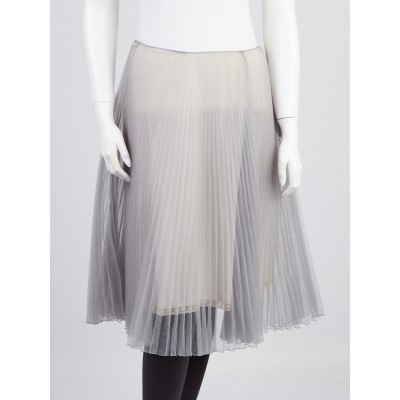 Prada Grey Pleated Sheer Silk Skirt Size 8/42