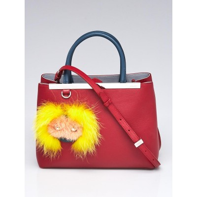 Fendi Red Leather 2Jours Elite Petite Monster Tote Bag 8BH255
