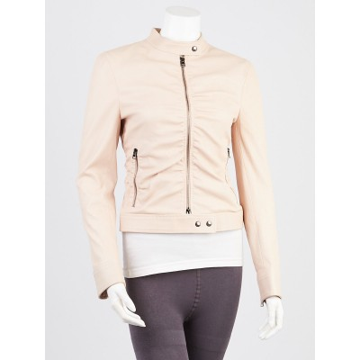 Tom Ford Light Beige Lambskin Leather Ruched Moto Jacket Size 2/36