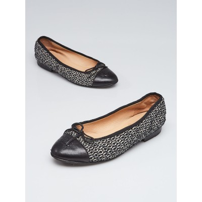 Chanel Black/White Tweed Cap Toe Ballet Flats Size 5.5/36