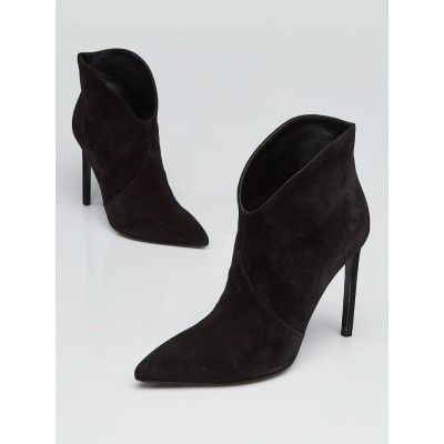Yves Saint Laurent Black Suede Pointed Toe Ankle Booties Size 6/36.5