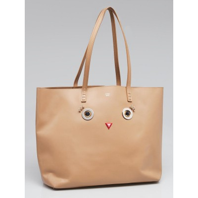 Fendi Beige Smooth Leather Hypnoteyes Shopping Tote Bag 8BH335