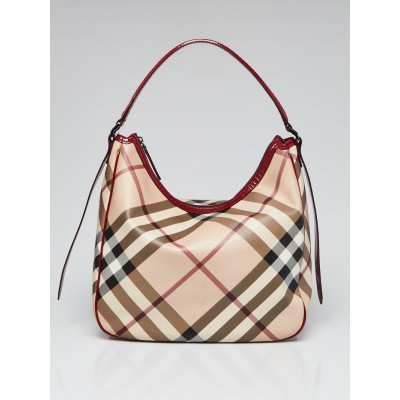 Burberry Nova Check Coated Canvas Red Patent Leather Hobo Bag