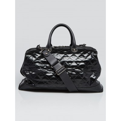 Chanel Grey Striated Quilted Coated Canvas Rue Cambon Duffel Bag