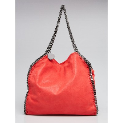 Stella McCartney Coral Shaggy Deer Faux-Leather Falabella Small Tote Bag