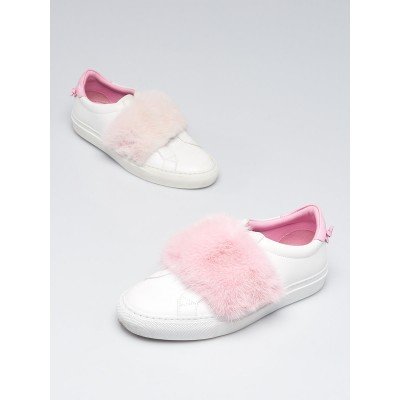 Givenchy White/Pink Leather/Mink Slip On Sneaker Size 5.5/36