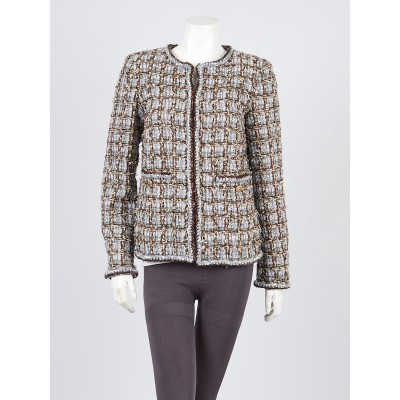 Chanel Grey/Brown Tweed Collarless Jacket Size 6/38
