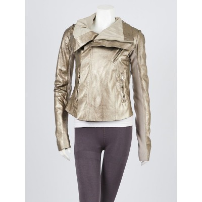 Rick Owens Gold Distressed Leather Moto Jacket Size 10/44