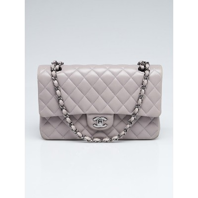 Chanel Grey Quilted Lambskin Leather Classic Medium Double Flap Bag
