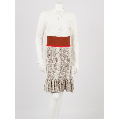 Chloe Multicolor Brown Lace and Knit Long Sleeved Dress Size M