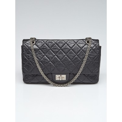 Chanel Black 2.55 Reissue Quilted Classic Lambskin Leather 227 Jumbo Flap Bag