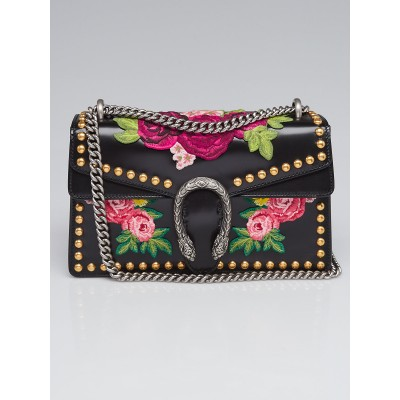 Gucci Black Smooth Leather Floral Embroidered Studded Small Dionysus Shoulder Bag