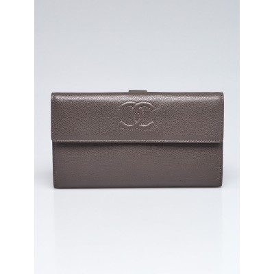 Chanel Dark Grey Leather CC L-Double Wallet