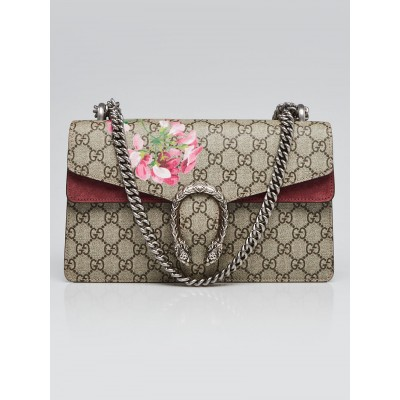 Gucci Beige/Pink GG Supreme Blooms Coated Canvas Small Dionysus Shoulder Bag