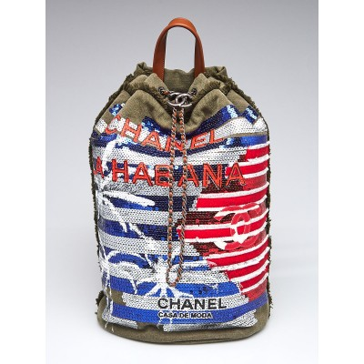 Chanel Red/ White/Blue Sequin and Canvas Cubano Trip Backpack Bag