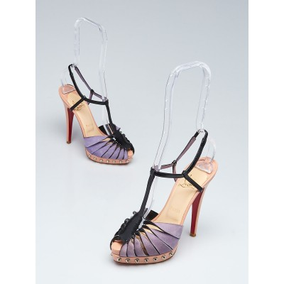 Christian Louboutin Purple Suede and Black Patent Leather Zigounette Spiked 140 Sandals Size 5.5/36