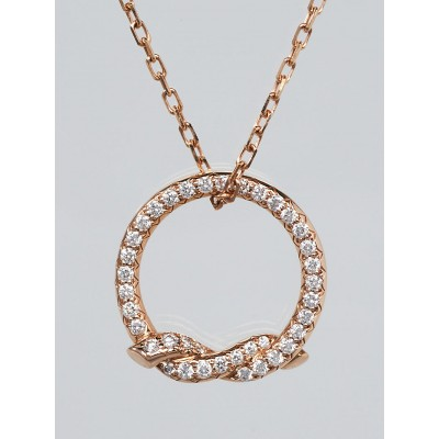 Cartier 18k Rose Gold and Diamond Twisted Circle Pendant