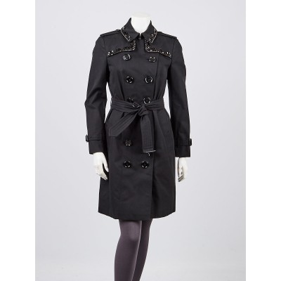 Burberry London Black Cotton Beaded Collar Trench Coat Size 6/40