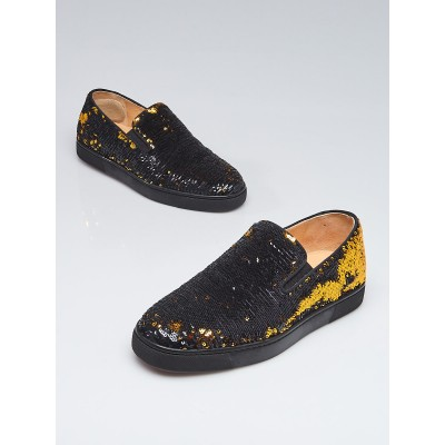 Christian Louboutin Black/Gold Sequin Boat Slip-On Sneakers Size 6.5/37