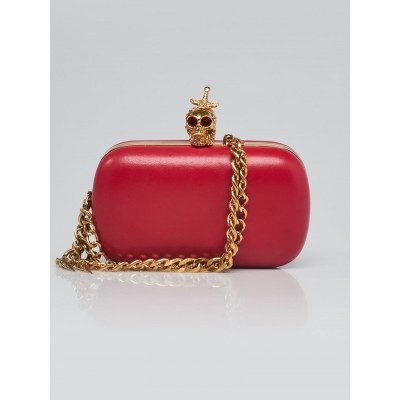 Alexander McQueen Red Leather Dagger Skull Box Clutch Bag