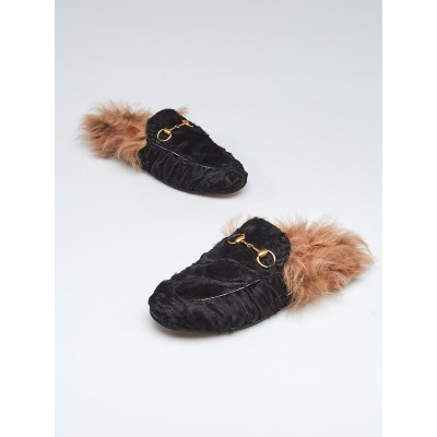 Gucci Black Shearling and Fur Princetown Mule Flats Size 4.5/35